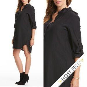 ✨HP!✨ NWT Amanda Uprichard Black Silk Shirtdress